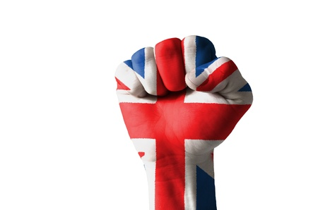 Low key picture of a fist painted in colors of united kingdom flag Stock Photo - 12981831