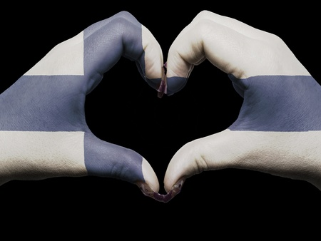 made in finland: Gesture made by finland flag colored hands showing symbol of heart and love