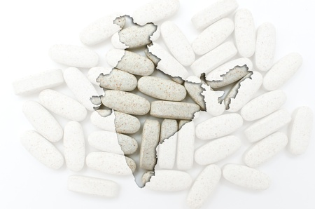 Outline india map with transparent background of capsules symbolizing pharmacy and medicine
