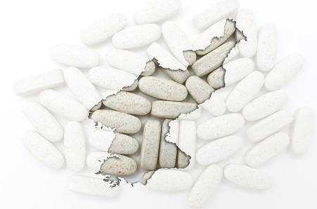Outline north korea map with transparent background of capsules symbolizing pharmacy and medicine Stock Photo - 12981522