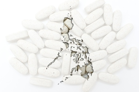 philippines  map: Outline philippines map with transparent background of capsules symbolizing pharmacy and medicine