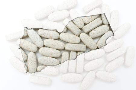 Outline yemen map with transparent background of capsules symbolizing pharmacy and medicine Stock Photo - 12981489