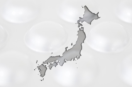 Outline japan map with transparent background of capsules symbolizing pharmacy and medicine photo