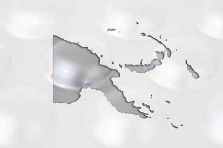 new medicine: Outline papua new guinea map with transparent background of capsules symbolizing pharmacy and medicine