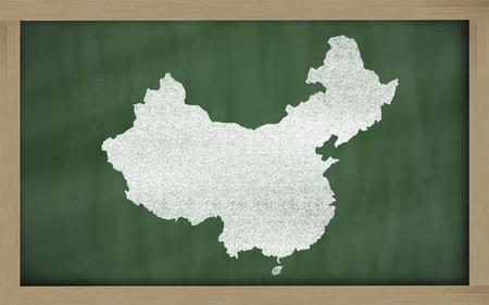 drawing of china on blackboard, drawn by chalk Stock Photo - 12981381