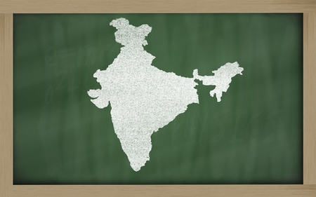 drawing of india on blackboard, drawn by chalk Stock Photo - 12981453
