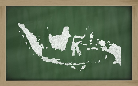 drawing of indonesia on blackboard, drawn by chalk Stock Photo - 12981456