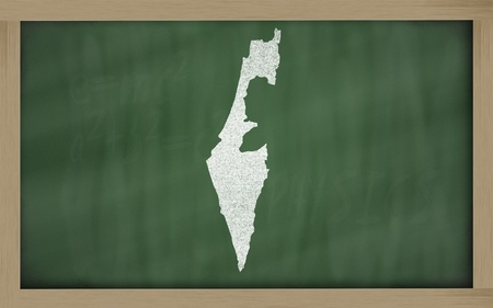 drawing of israel on blackboard, drawn by chalk photo