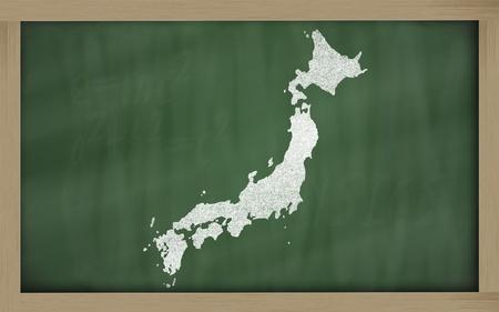drawing of japan on blackboard, drawn by chalk Stock Photo - 12981507