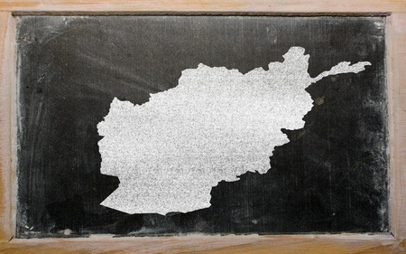 drawing of afghanistan on blackboard, drawn by chalk photo