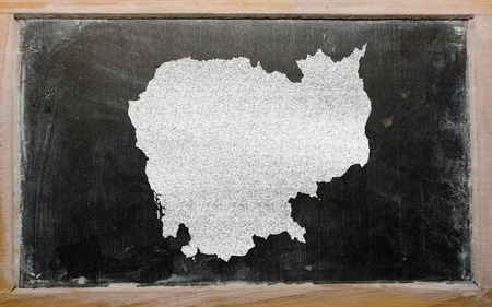 drawing of cambodia on blackboard, drawn by chalk photo