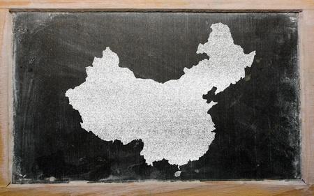 drawing of china on blackboard, drawn by chalk Stock Photo - 12981350