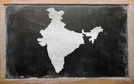 drawing of india on blackboard, drawn by chalk photo