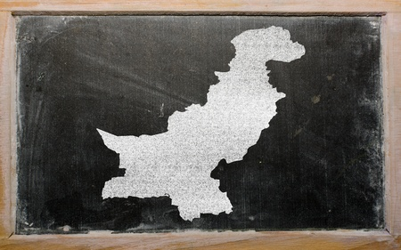 drawing of pakistan on blackboard, drawn by chalk Stock Photo - 12981310