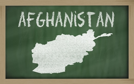 drawing of afghanistan on blackboard, drawn by chalk Stock Photo - 12981353