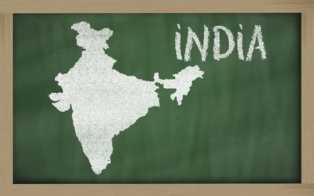 drawing of india on blackboard, drawn by chalk Stock Photo - 12981411