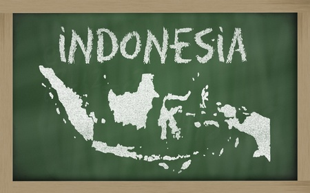 drawing of indonesia on blackboard, drawn by chalk Stock Photo - 12981391