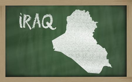 drawing of iraq on blackboard, drawn by chalk Stock Photo - 12981388
