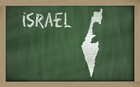 drawing of israel on blackboard, drawn by chalk Stock Photo - 12981471