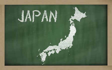 drawing of japan on blackboard, drawn by chalk Stock Photo - 12981454