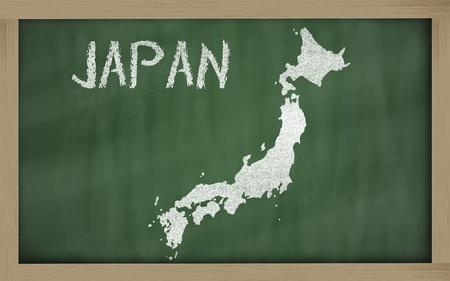 drawing of japan on blackboard, drawn by chalk Stock Photo - 12981454