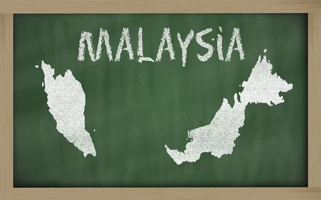 drawing of malaysia on blackboard, drawn by chalk photo