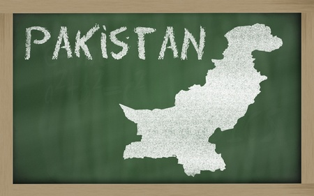 drawing of pakistan on blackboard, drawn by chalk photo