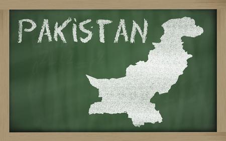 drawing of pakistan on blackboard, drawn by chalk Stock Photo - 12981394