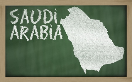 drawing of saudi arabia on blackboard, drawn by chalk photo