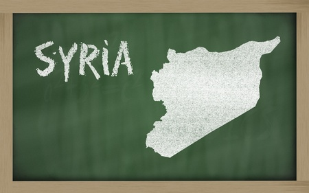 drawing of syria on blackboard, drawn by chalk photo
