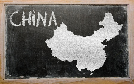 drawing of china on blackboard, drawn by chalk photo