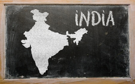 map of india: drawing of india on blackboard, drawn by chalk Stock Photo