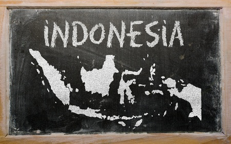 drawing of indonesia on blackboard, drawn by chalk Stock Photo