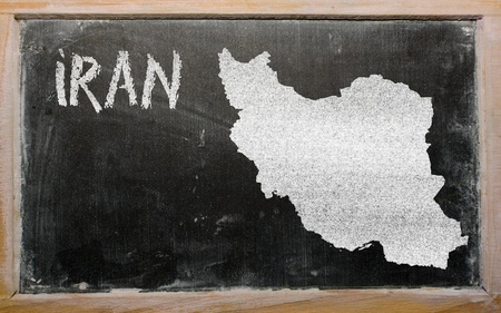 drawing of iran on blackboard, drawn by chalk Stock Photo - 12981270