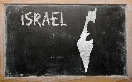 drawing of israel on blackboard, drawn by chalk Stock Photo - 12981348