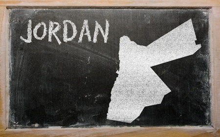drawing of jordan on blackboard, drawn by chalk Stock Photo - 12981262