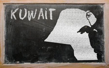 drawing of kuwait on blackboard, drawn by chalk Stock Photo - 12980666