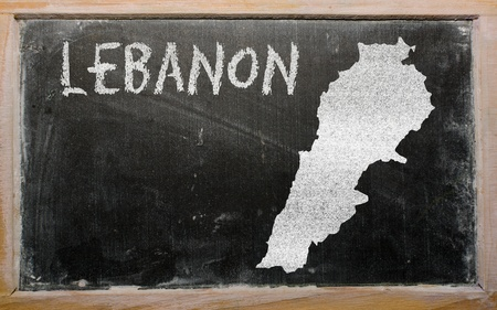 drawing of lebanon on blackboard, drawn by chalk Stock Photo - 12981256