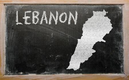 drawing of lebanon on blackboard, drawn by chalk Stock Photo - 12981256