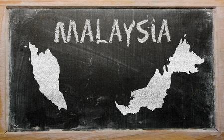 drawing of malaysia on blackboard, drawn by chalk Stock Photo - 12980670