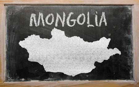 drawing of mongolia on blackboard, drawn by chalk Stock Photo - 12980566