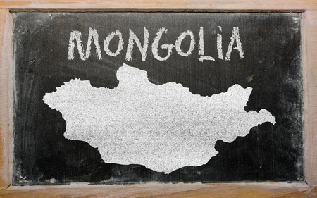 drawing of mongolia on blackboard, drawn by chalk Stock Photo - 12980566