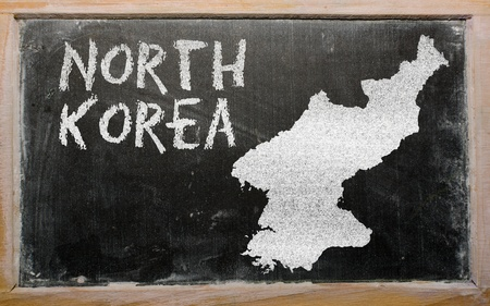 drawing of north korea on blackboard, drawn by chalk Stock Photo - 12980664