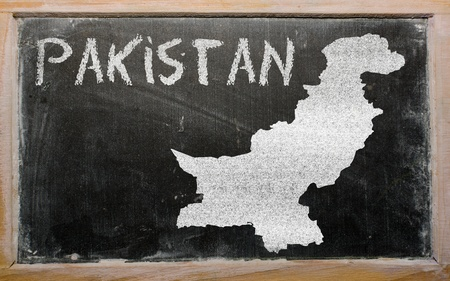 drawing of pakistan on blackboard, drawn by chalk Stock Photo - 12980672