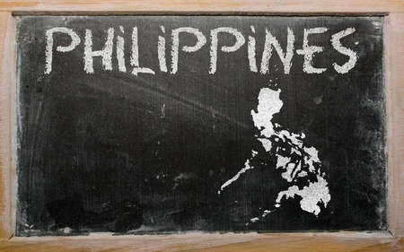 drawing of philippines on blackboard, drawn by chalk photo