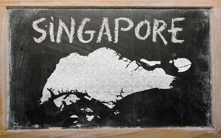 drawing of singapore on blackboard, drawn by chalk Stock Photo