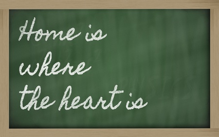 where: handwriting blackboard writings - Home is where the heart is