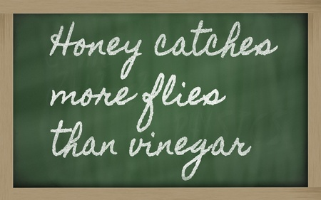than: handwriting blackboard writings - Honey catches more flies than vinegar Stock Photo