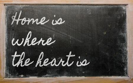 handwriting blackboard writings - Home is where the heart is photo