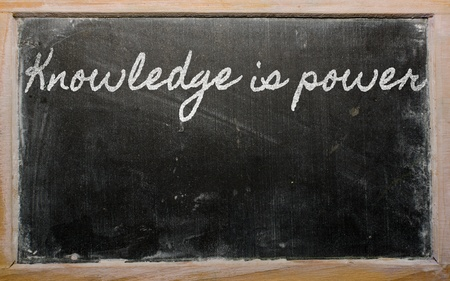 handwriting blackboard writings - Knowledge is power Stock Photo - 12981346